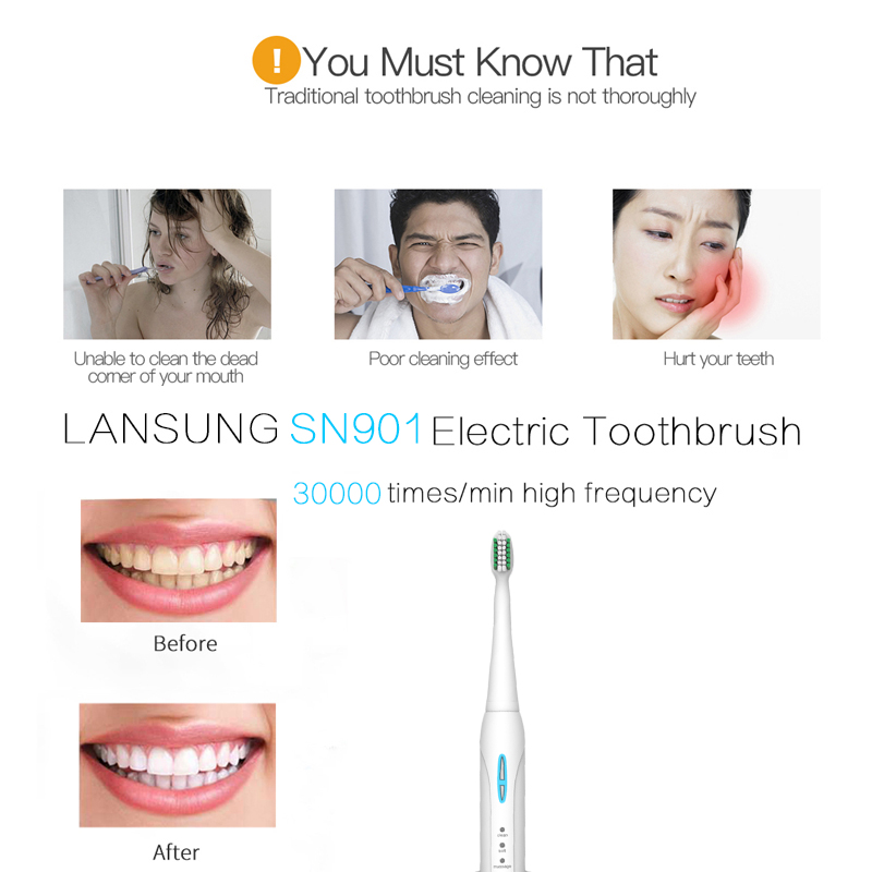 Image 3 - LANSUNG Sonic Electric Toothbrush Ultrasonic toothbrush oral hygiene sonic toothbrushes electric tooth brush SN901 dental care 5-in Electric Toothbrushes from Home Appliances