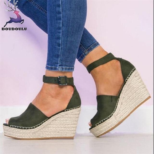 7f5da63105a Women Sandals Fashion Dull Polish Sewing Peep Toe Wedges Hasp Sandals  Flatform Shoes Woman zapatos mujer