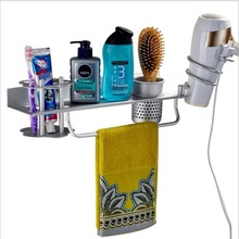 Multifunctional Bathroom Organizer & Storage Wall Mount Toothbrush Hair Dryer Holder Shelf with Cup for Blow