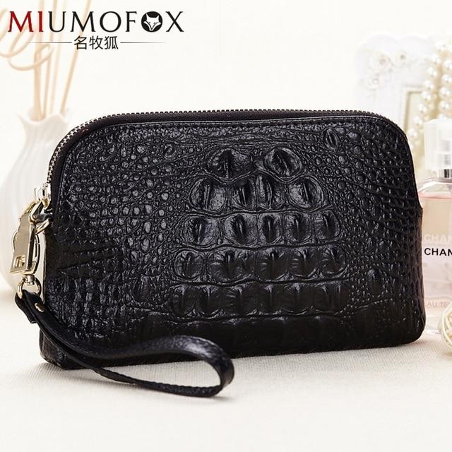 Alligator Day Clutches Women Bag Genuine Leather Vera Pelle Wallet Luxury Handbags Bags Designer Bolso