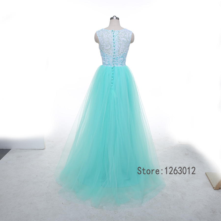 Sleeveless Mint Blue and White Lace A line Tulle Prom Dress Button ...