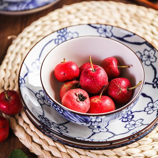 22Pcs/Set Round Shape Sakura Pattern Ceramic Tableware Set for Kitchen Dining Room