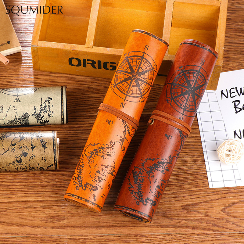 Vintage Pirate Roll Up Imitation Leather Pen Pencil Case Bags Treasure Map Gift Favor Make Up Cosmetic Bag High-capacity School