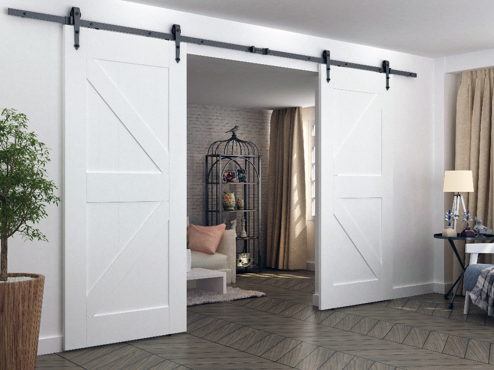 DIYHD 244CM-400CM Heavy Duty Arrow Wheel Rustic Black Double Sliding Barn Door Hardware To Hang 2 Doors