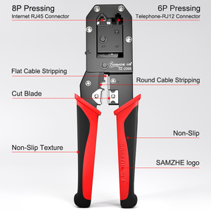 Image 4 - SAMZHE Crimper Cable Cutter Automatic Wire Stripper Multifunctional Stripping Tools Crimping Pliers for 6P/8P Ethernet Telephone