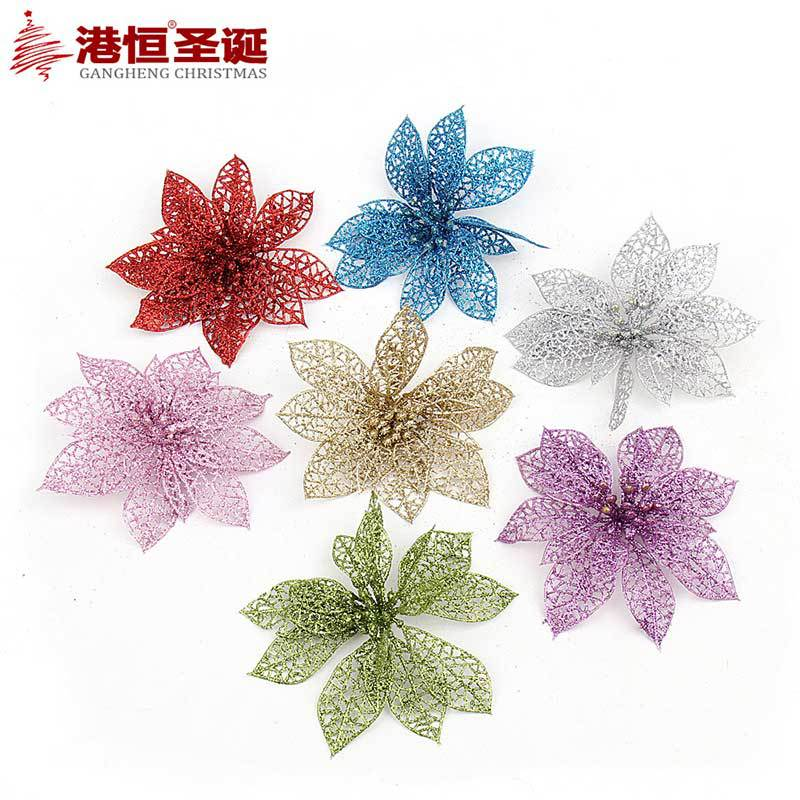 7pieceslot glitter poinsettia christmas tree ornaments christmas decorations flower christmas supplies 7 colors option 13cm in christmas from home - Poinsettia Christmas Decorations
