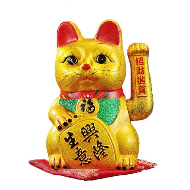Bonito 7 polegada Ouro Estatuetas de Cerâmica Gato Sorte Feng Shui Ornamentos Riqueza acenando com As Mãos Trêmulas Elétrica Casa Acessórios de Decoração