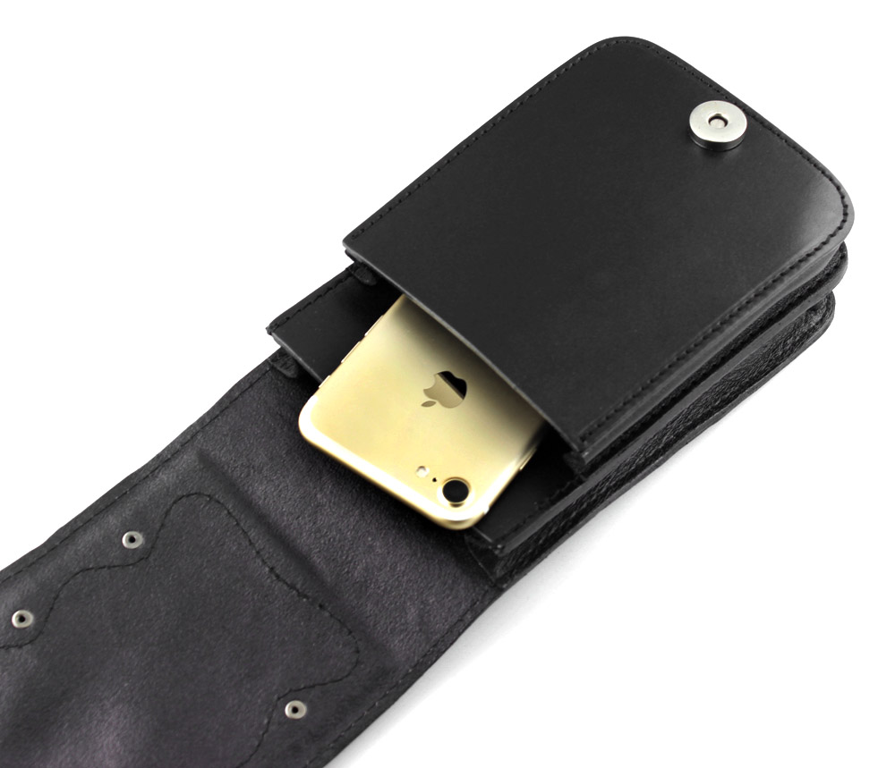 남자 블랙 정품 가죽 소형 지갑 컨버터블 허리 가방 바이커 오토바이 벨트 파우치-에서크록스 바디 백부터 수화물 & 가방 의  그룹 3
