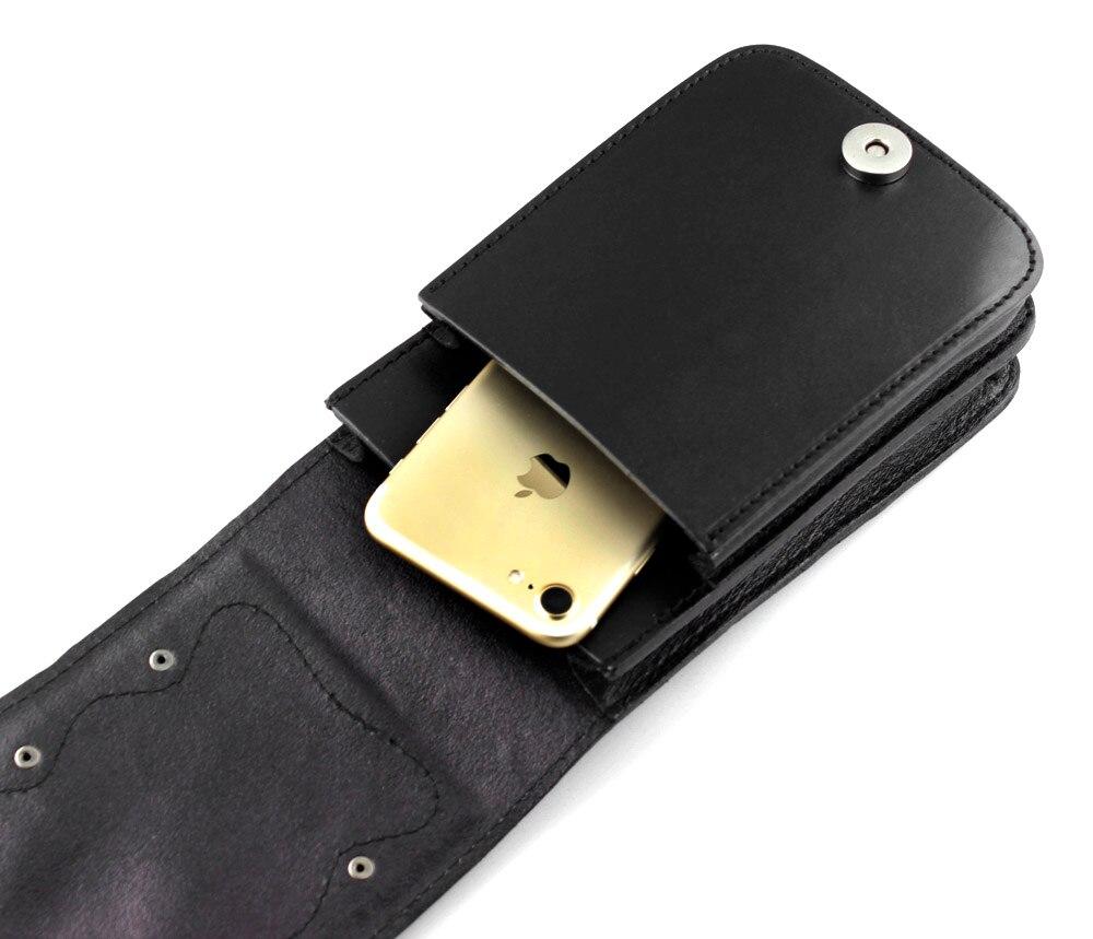 Bolso negro de cuero genuino para hombre, bolso de cintura Convertible, bolsa de cinturón para motociclista-in Bolsos bandolera from Maletas y bolsas    3