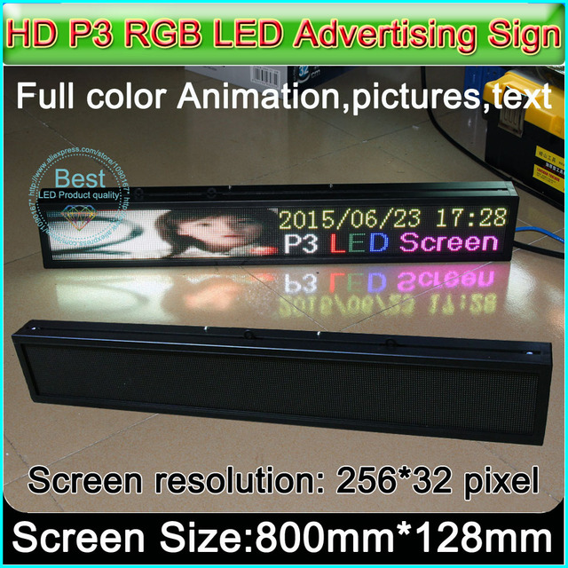 """HD P3 RGB LED display panel, Indoor full color LED Advertising signs ,H5.5"""" x W32"""" (256Pixel*32Pixel)"""