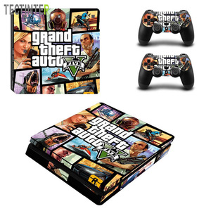 GTA Sticker For PS4 Slim Skin For Sony Playstaion 4 Slim Cover Decal + 2Pcs Gamepad Controller Joystick