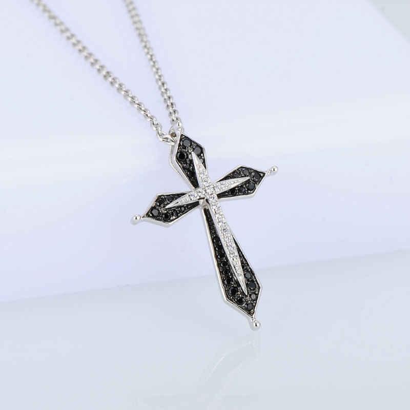 SANTUZZA argent pendentif pour les femmes pur 925 en argent Sterling Vintage noir croix pendentif adapté pour collier