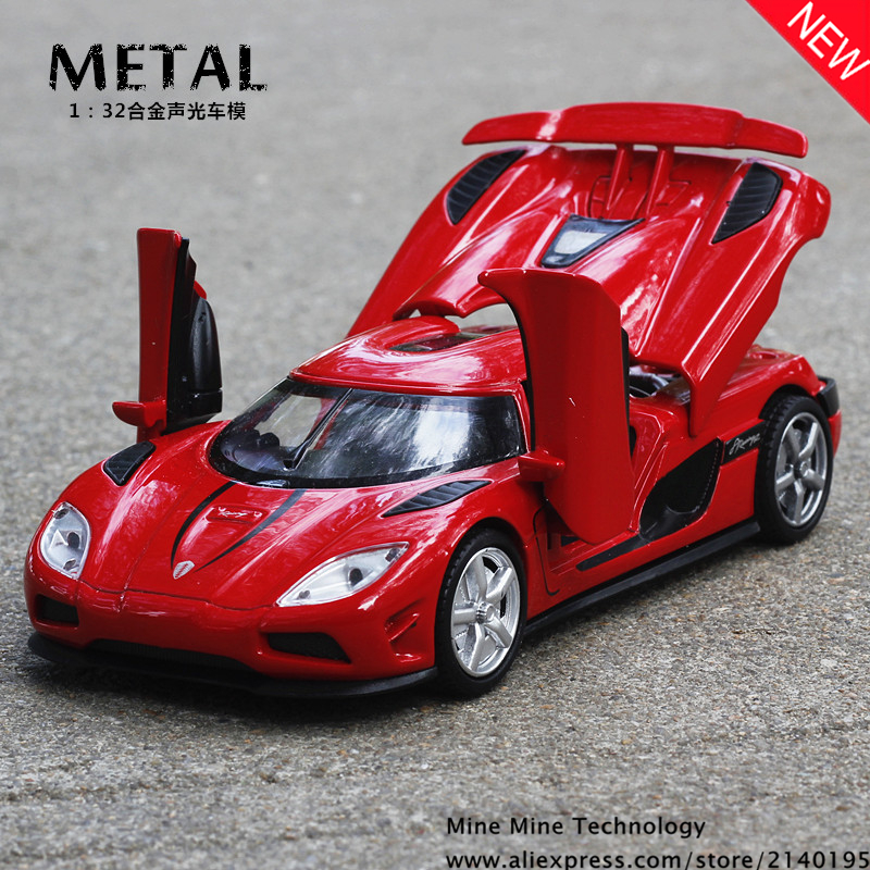 1 32 free shipping Koenigsegg supercar Alloy Diecast Car Model Pull Back Toy Electronic Car classical