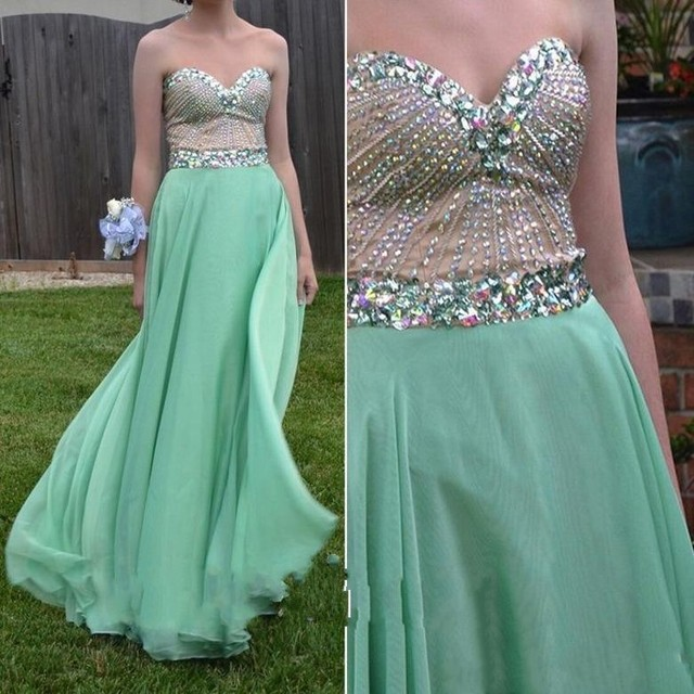 a6e93c2b4d5f 2017 Real Picture Custom Made Mint Green Prom Dresses Long Chiffon Backless  Sweetheart Women Party Gowns With Beaded Sequined