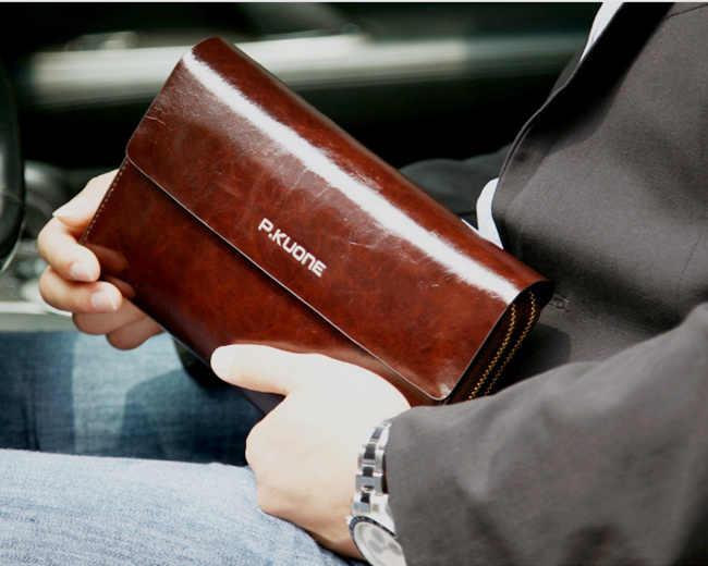 P. KUONE, мужской клатч, натуральная кожа, сумочка, двойной слой, бизнес, дневной клатч, кошельки, мужские, масло, воск, Cowhid, кошелек, мужской кошелек