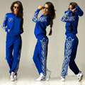 survetement femme marque 2016 Women Suit red lips printed Tracksuit 2 piece set women runway suit set Plus Size