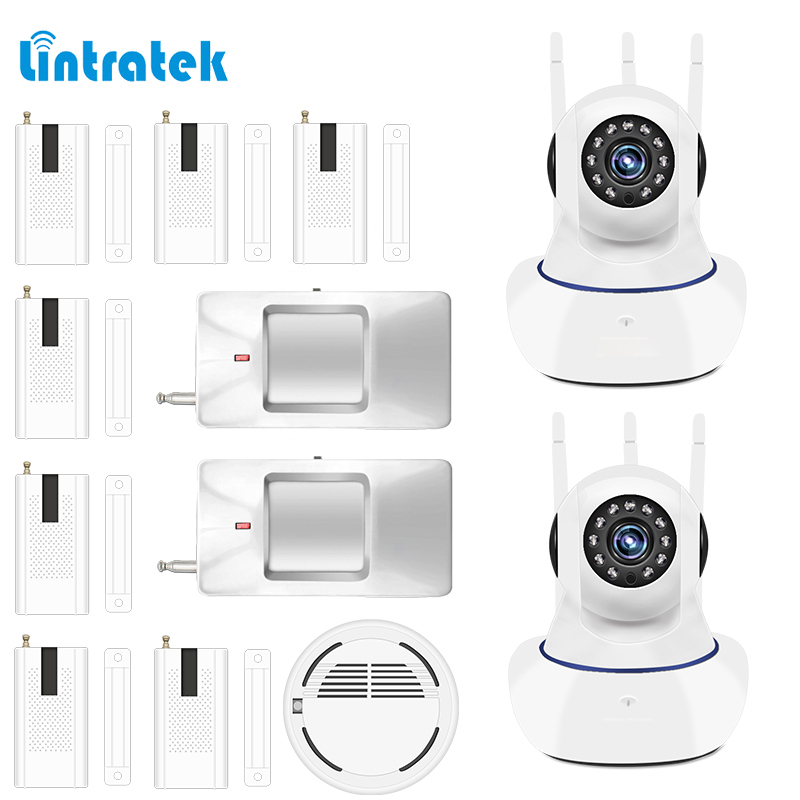 lintratek Burglar Alarm Door Window Sensor Wireless 1mp IP Surveillance Camera Yoosee APP Control Alarm System Kit Home Security