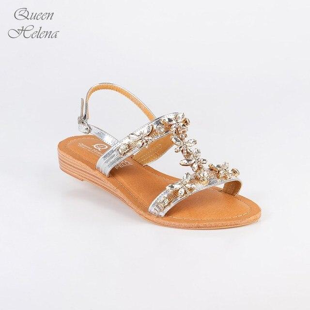 wholesale dealer 7ff1f 831a4 KÖNIGIN HELENA niedrigen sandalen silber mit steinen