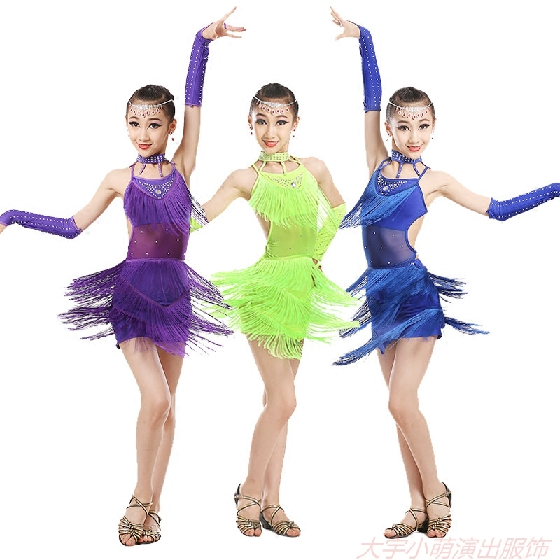 tassel latin dance dress for girls salsa spandex rumba tango children ballroom dresses for kids samba competition 2018 fringe
