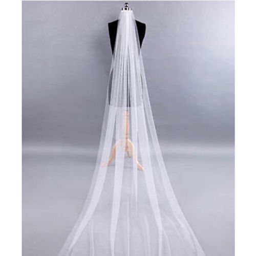 White/Ivory 1T Wedding Bridal Long Veil Church Cathedral Veils Net&Comb 2m 3m 4m 5m