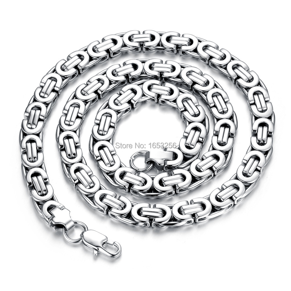 2015 New design 8mm 24\'\' silver Flat Byzantine Link Chain Necklace ...