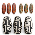 2pcs/lot 9 Eyes Tibet Buddhist Dzi Beads Loose Big Hole Agate Spacer Beads For Jewelry Making Bracelet Necklace Findings F3982