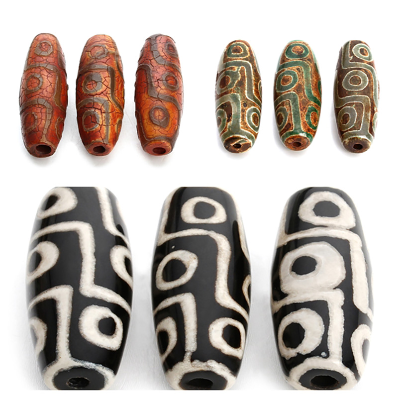 2pcs/lot 9 Eyes Tibet Buddhist Dzi Beads Loose Big Hole Agates Spacer Beads For Jewelry Making Bracelet Necklace Findings F3982