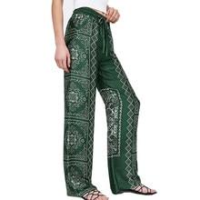 69acbddb2 Hot Boho mujer verano Pantalones de mujer de cintura alta pierna ancha  Harem Flare pantalones Pantalon mujer Palazzo Hippie pant.