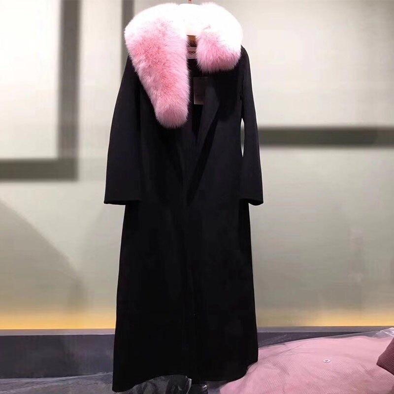 Réel De Manteau Renard Avec Noir Col Rf0192 Femmes 100 Fourrure Laine Naturel 5HIqBwBd