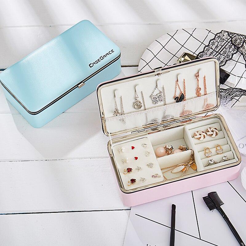 Brand Luxury PU Jewelry Carrying Case Box For Women Faux Leather Jewel Box European Portable Travel Organizer Jewelry Box 2018