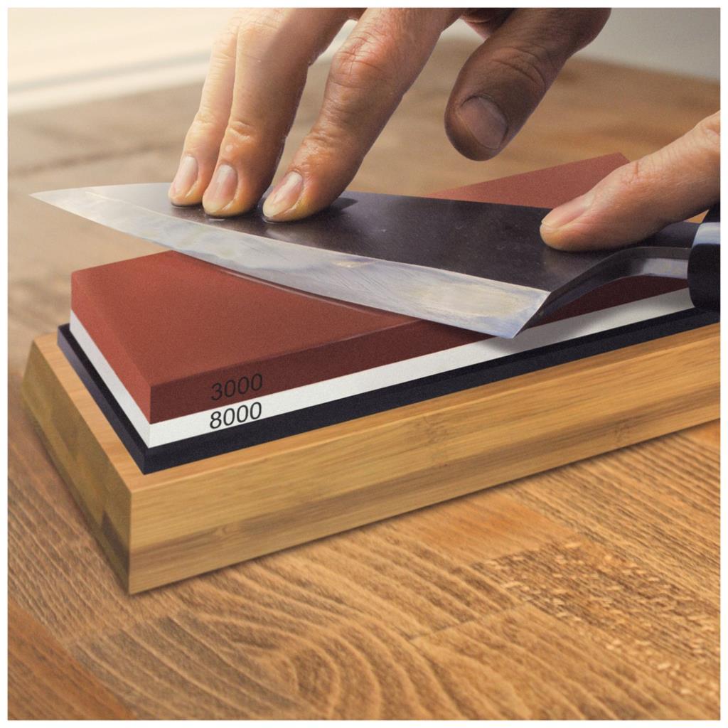 Schärfen Stein 3000 & 8000 Grit-Doppelseitige Schleifstein Set Für Messer Mit Nicht-Slip Bambus Basis und freies Winkel Guide