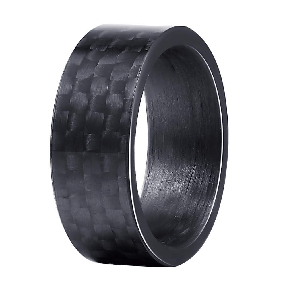 Carbon Fiber Diamontrigue Jewelry: 2018 Fashion Alliance Jeweler 8MM Men's Black Smooth Pure