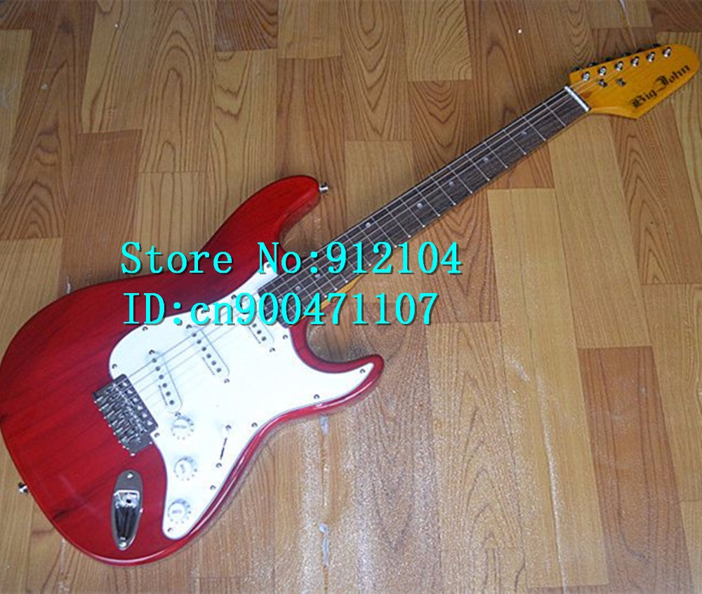 free shipping new Big John single wave  electric guitar in transparent red with basswood body  F-1253free shipping new Big John single wave  electric guitar in transparent red with basswood body  F-1253