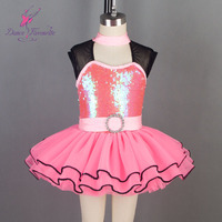 19068 Dance Favourite New Kid's Ballet Tutu Stage Costumes Hot Pink Sequin Bodice Top with Light Sea Blue Tulle Tutu Dancewear