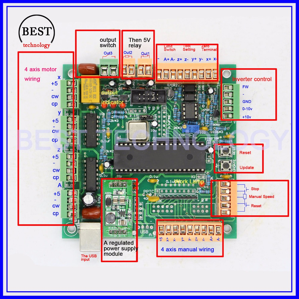4 Axis USB CNC Controller CNC USB Interface Board USB CNC 2 1 MK1 MACH3 Upgrading 4 axis usb cnc controller cnc usb interface board usb cnc 2 1 mk1 usb cnc controller circuit diagram at gsmx.co
