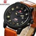Naviforce Hombres Deportes Relojes Hombres Relojes de Pulsera de Cuero Reloj de pulsera de Cuarzo Reloj de la Marca de Lujo Militar Reloj de Los Hombres del Calendario Relojes