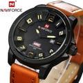 Naviforce Men Sports Watches Men Wristwatches Leather Quartz WristWatch Clock Brand Luxury Military Watch Men's Calendar Relojes