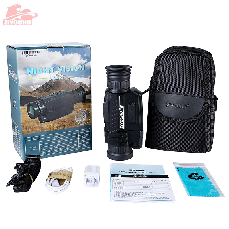 ZIYOUHU Infrared HD Digital Night Vision Device Optical Hunting Patrol 5x35 Monocular Night Goggles Video Recording New Arrival in Night Visions from Sports Entertainment