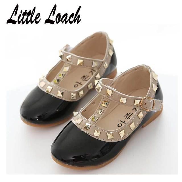 Baby Big Kids PU Leather Shoes Spring Autumn Rivet Design Classical Girls Dress Shoes Soft Slip-resistant Toddler Children Flats