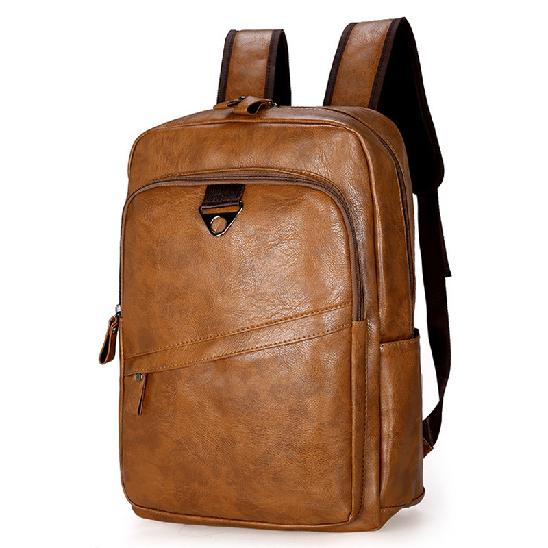 Fashion Men Backpack Waterproof PU Leather Travel Bag Man Large Capacity Teenager Male Mochila Laptop Backpacks-in Backpacks from Luggage & Bags