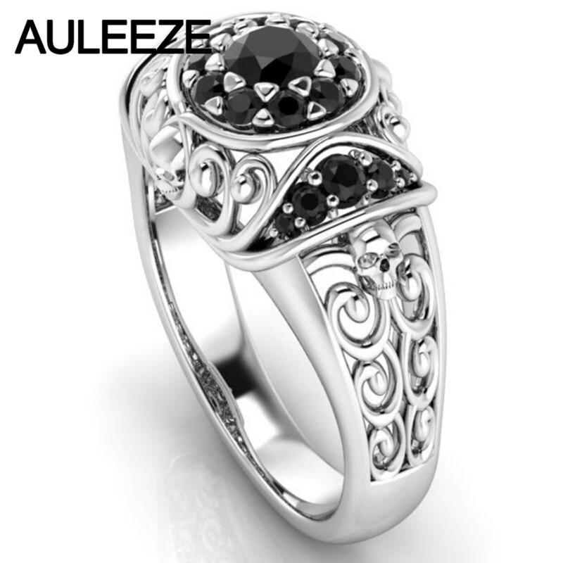 Halloween cráneo único anillo Natural negro ágata de la piedra preciosa anillo sólido 10 K oro blanco de compromiso Onxy anillo para las mujeres Fine joyería