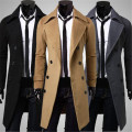 New Men Outwear Slim Stylish Trench Coat Winter Long Jacket Double Breasted Overcoat Woolen Coat