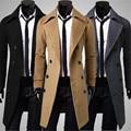 Nuevos hombres Outwear delgado elegante Trench Coat invierno larga chaqueta doble de pecho abrigo abrigo de lana