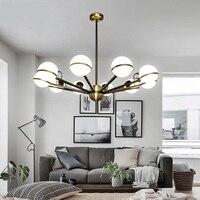 The Nordic Minimalist Living Room Pendant Lights Creative Iron Round Glass Ball Beanstalk Restaurant Bedroom Chandel