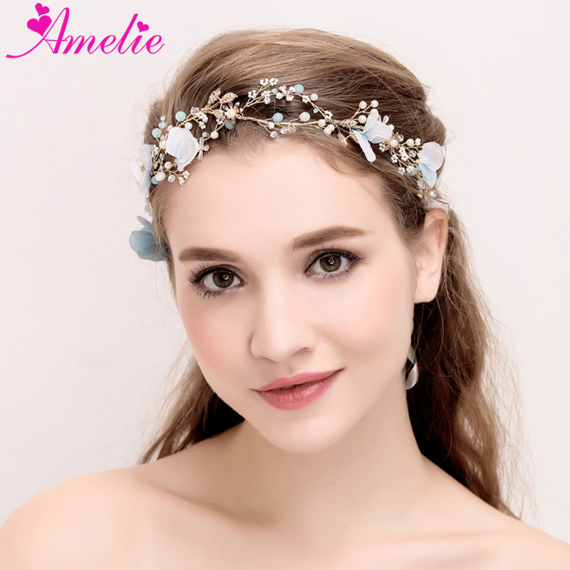 wedding tiara blue flower and pearl