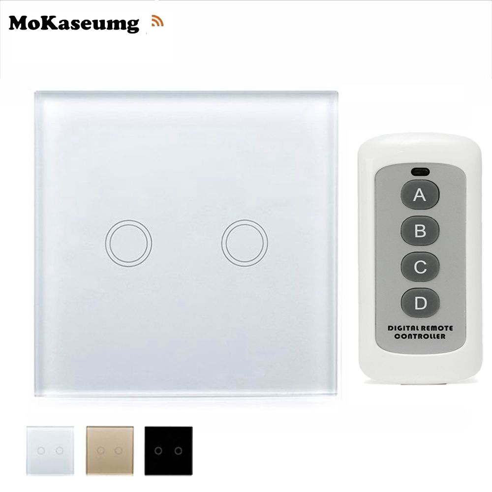 EU/UK Wall Touch Smart Switch 2 Gang 1 Way Touch Panel Switch RF 433 Home Light Touch Switch Remote Control White/Black/Gold funry smart home light switch 1 way 1 gang remote control switch touch rf 433mhz wireless crystal glass switch eu uk
