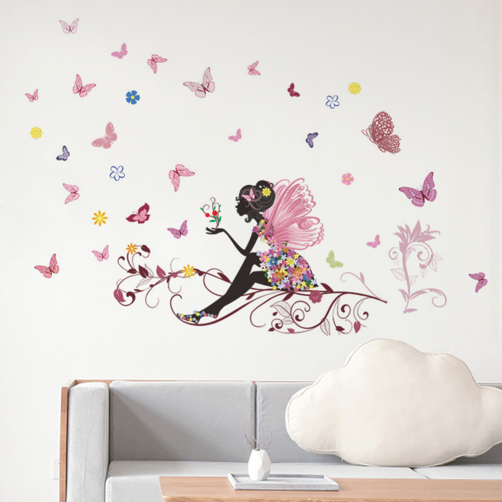 Butterfly and Flowers Dance Abstract Art Wall Sticker Decoration Removable Decor