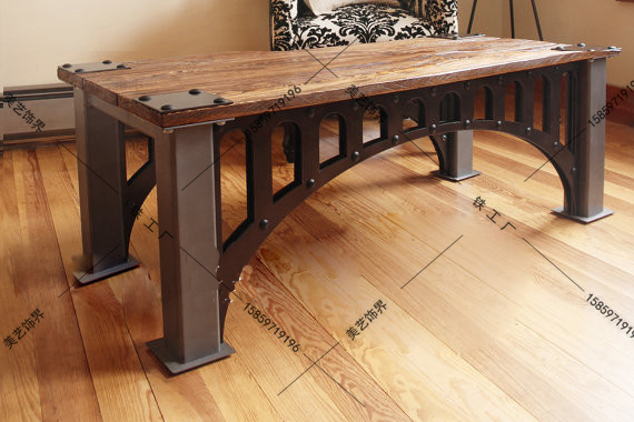 Attirant American French Industrial Furniture Loft Old Vintage Wrought Iron Coffee  Table Made Of Solid Wood Coffee