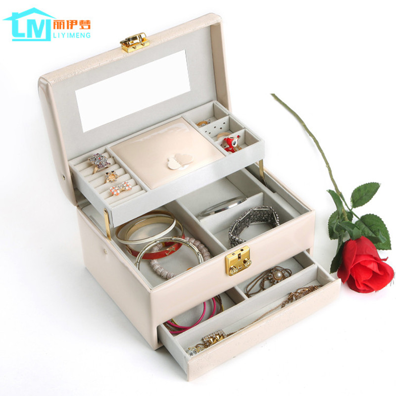 LIYIMENG Makeup Organizer Cosmetic Storage Box Jewelry Container Women Drawer Necklace Bins Earring Collection Rings Bag Gift  makeup organizer box