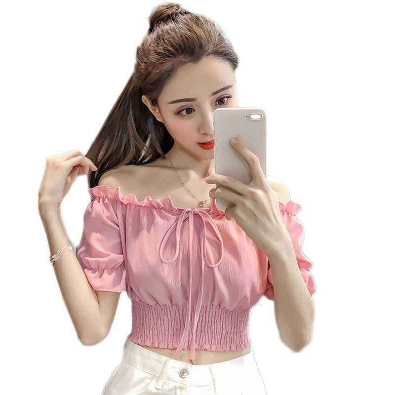 ffc00b1a1e Dulce hombro Ruffles mujeres blusa Verano de cintura delgada elástico de la  gasa Tops mujeres camisa